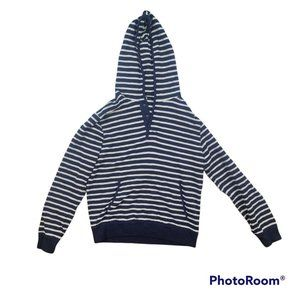 EUC comfy J Crew blue/white striped hoodie